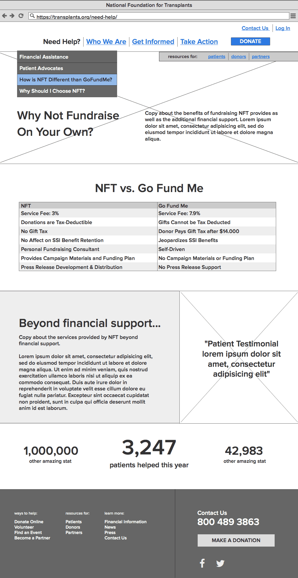 nft wireframe for page describing the differences between fundraising with NFT and GoFundMe