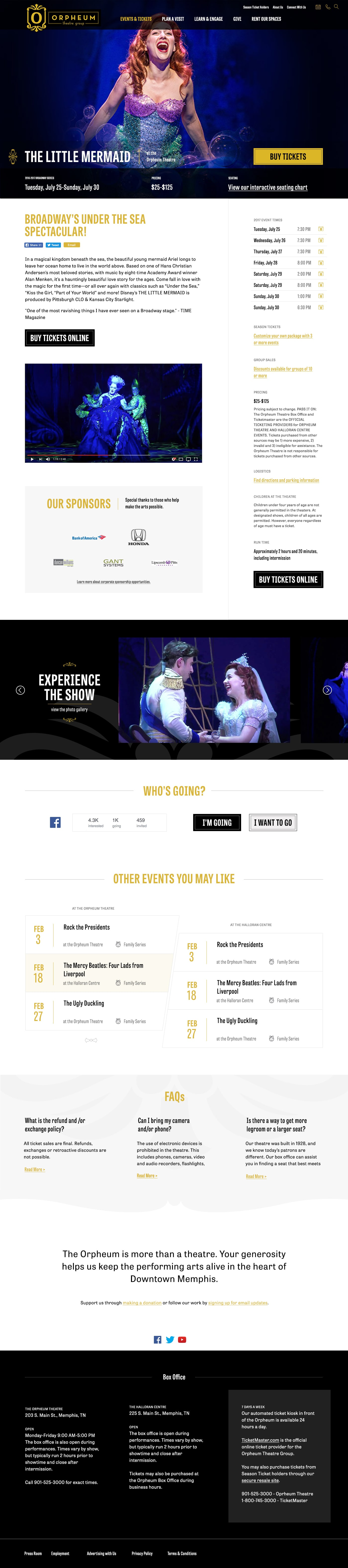 Event page design for Orpheum Theatre