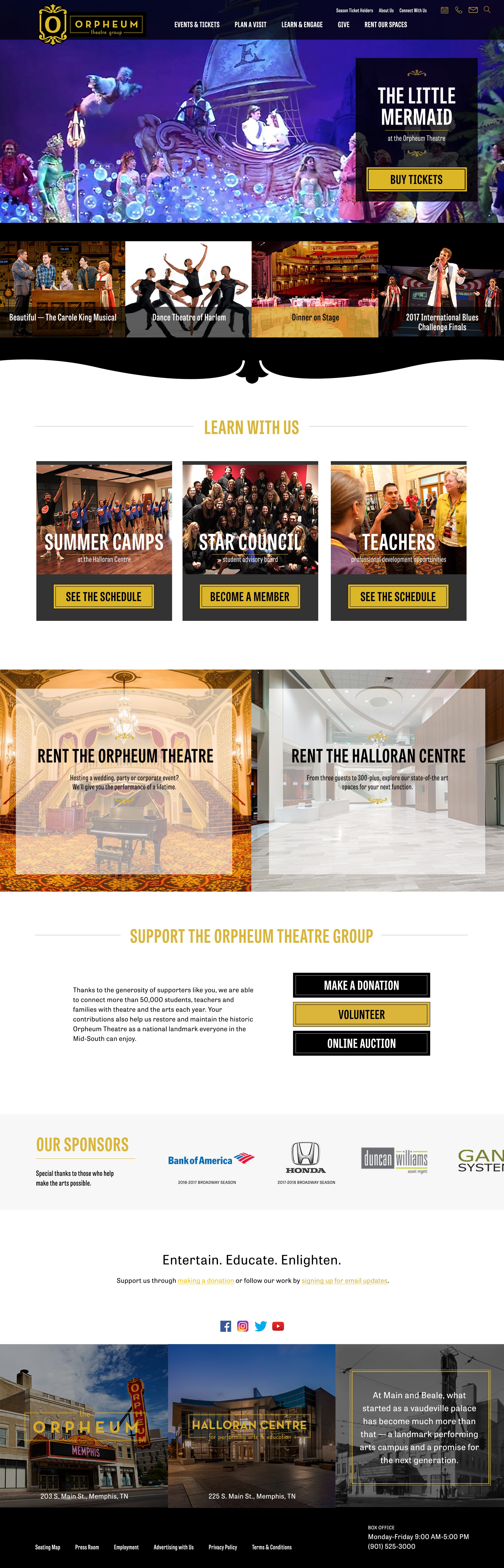 Homepage design for Orpheum Theatre