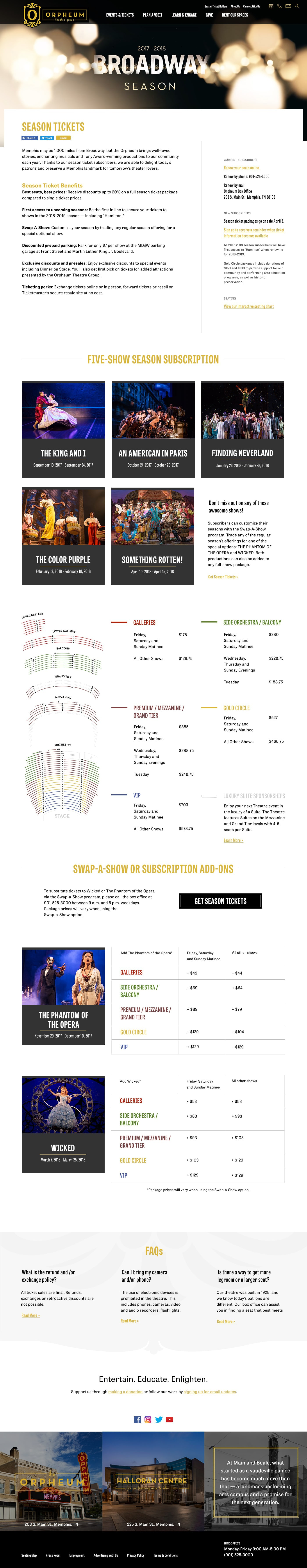 Season ticket page design for Orpheum Theatre