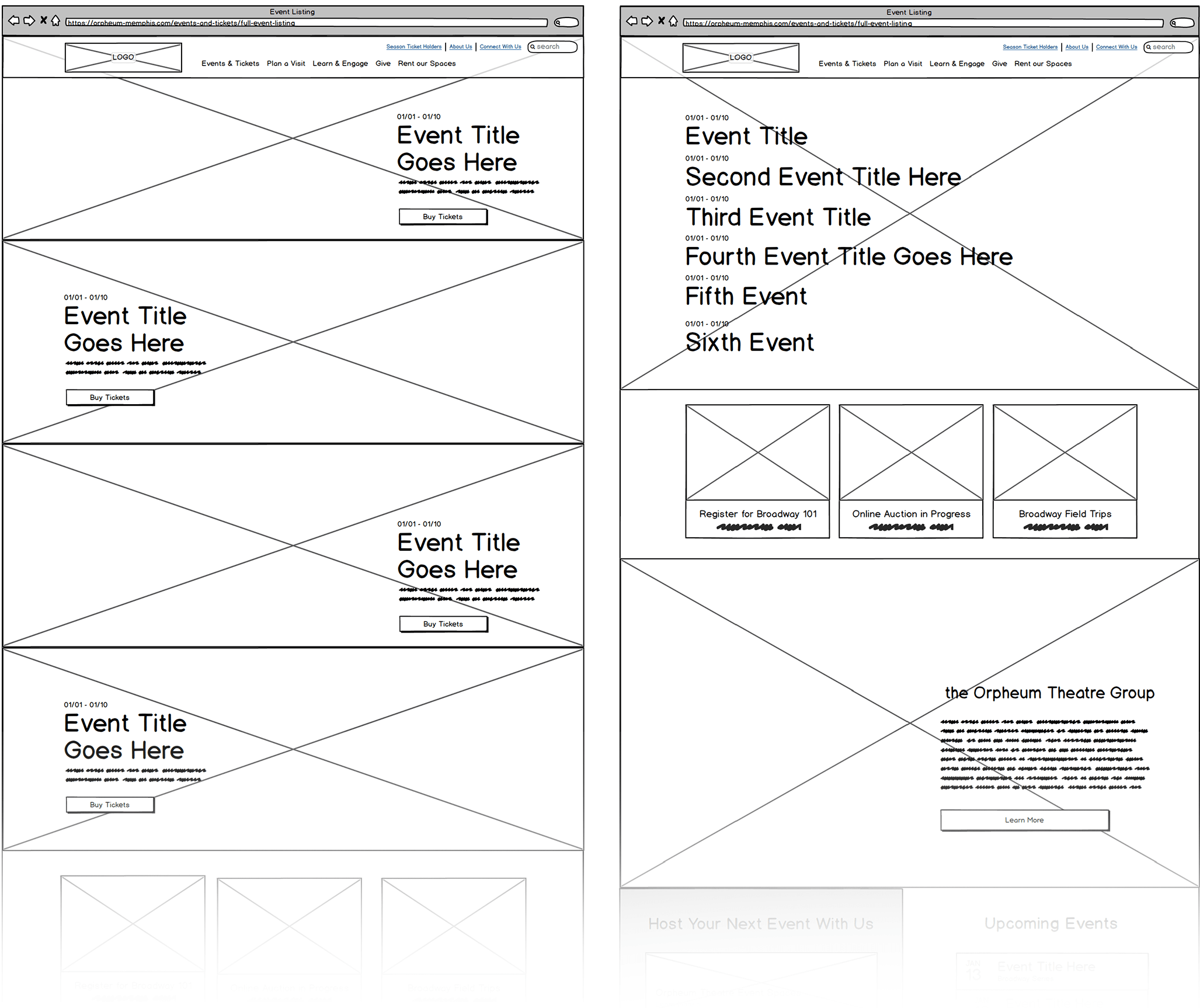 wireframe explorations for Orpheum Theatre homepage