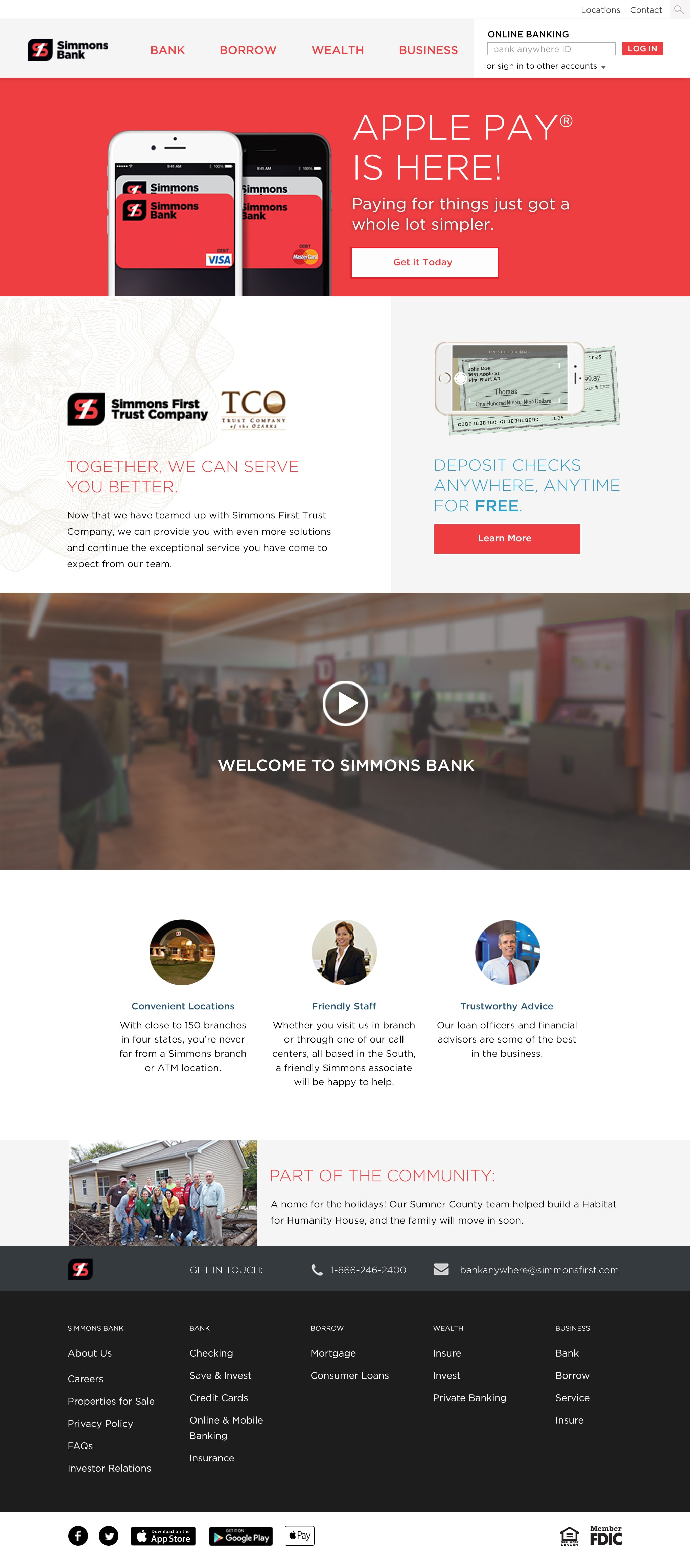 Homepage design for new bank website